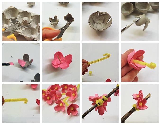 Egg Carton Cherry Blossom Craft Fun Crafts Kids