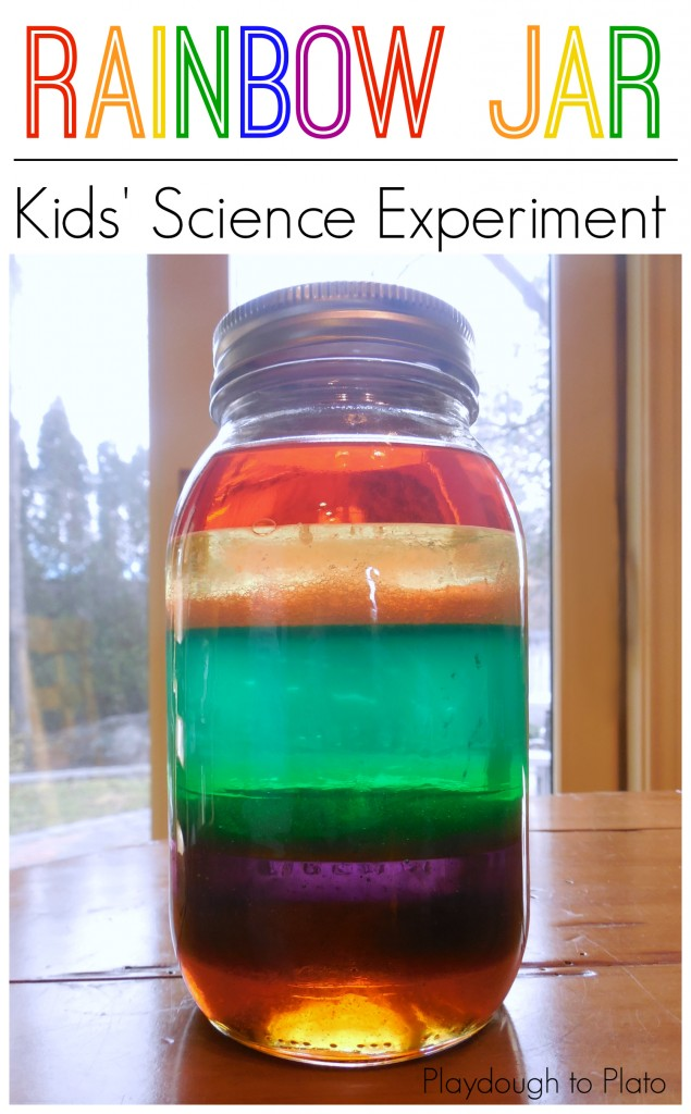 rainbow in a jar science for kids at home