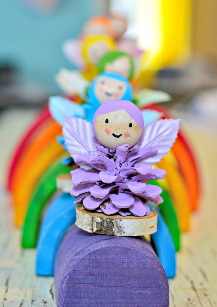 pine cone fairy craft - rainbow fairies