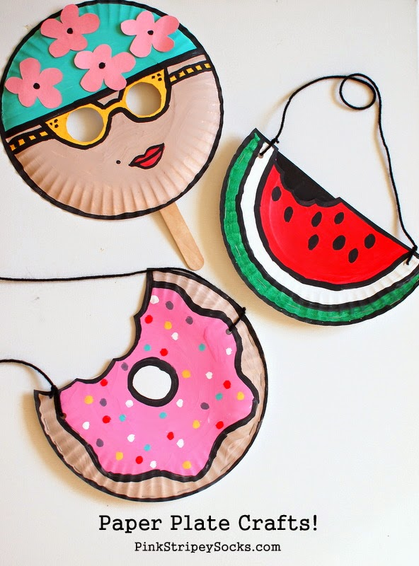 Charming Craft Ideas For Kids With Paper Plates Part - 10: 1 Easy Summer Paper Plate Crafts- Mask And Doughnut And Watermelon Purse