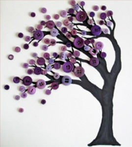 Diy button art tree fun crafts kids for Fall craft ideas for seniors