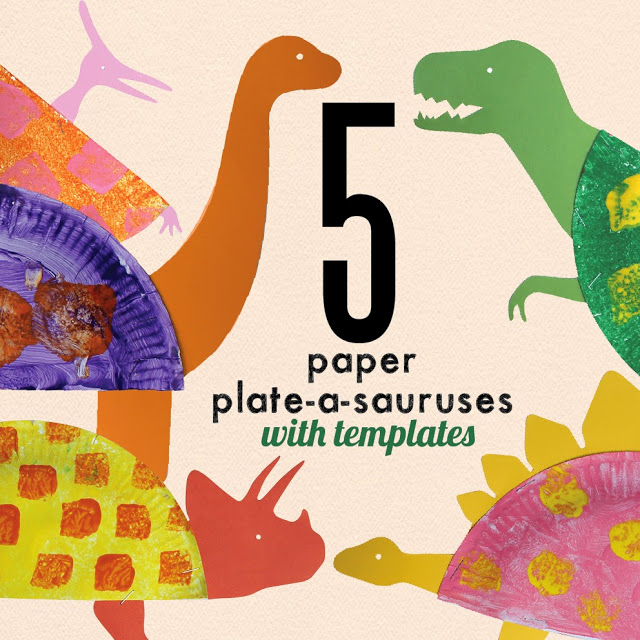 Paper Plate Dinosaurs (free printable)