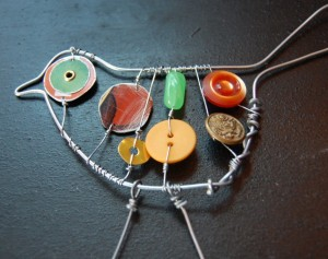 button bird ornaments