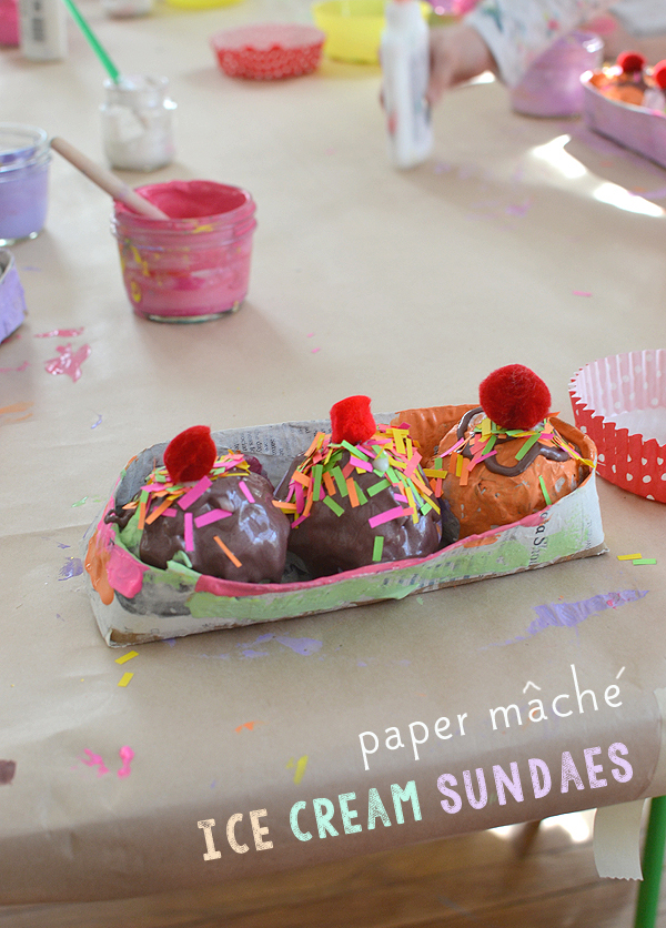 paper mache ice cream sundaes