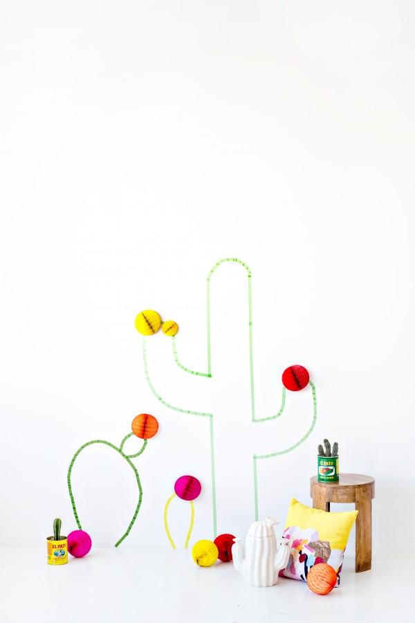 Cactus Washi Tape Wall Art