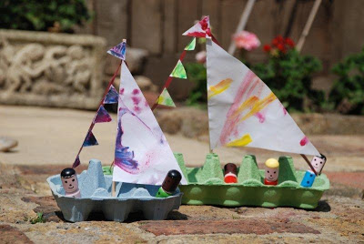 egg carton crafts boat