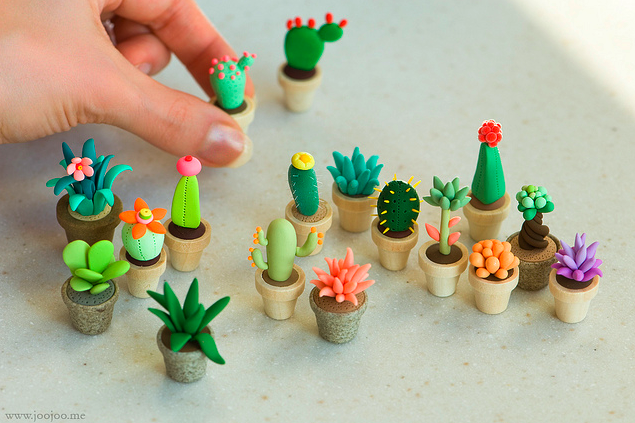 polymer clay cactus (FIMO)