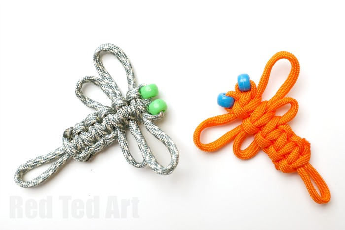 Paracord Craft Ideas - adorable dragon flies, look great as hair clips, brooches or keychains
