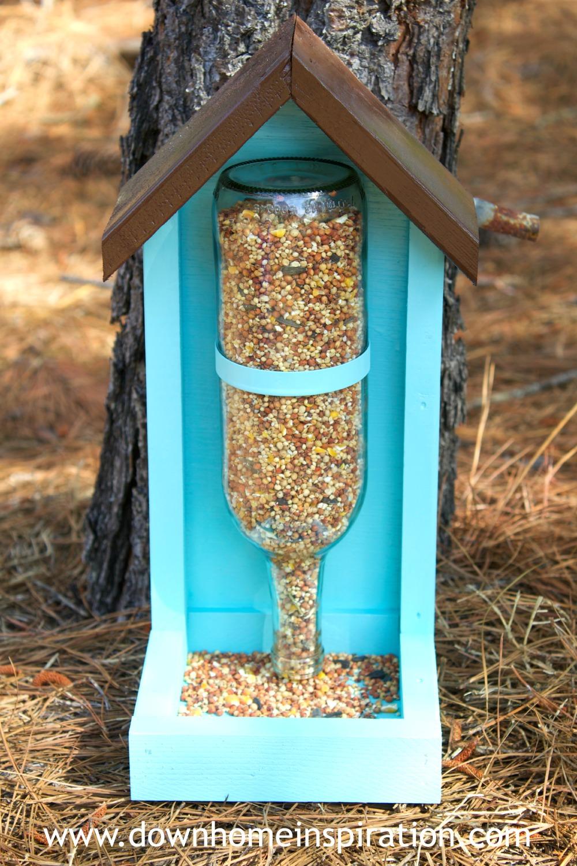 Bottle bird feeder diy fun crafts kids for How to make a wooden bird feeder