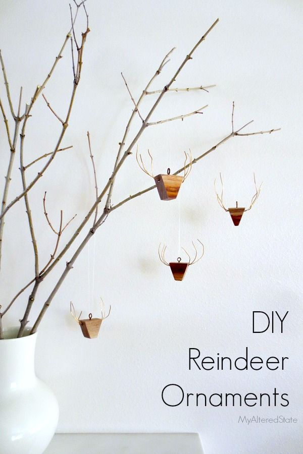 DIY Wooden Reindeer Ornaments