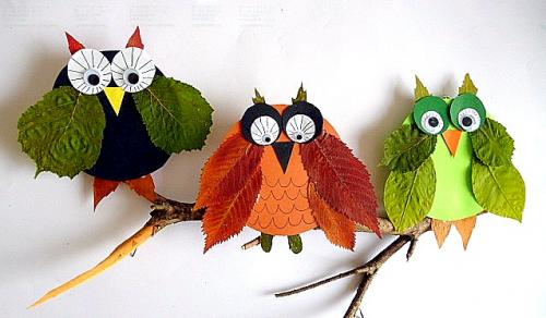 Leaf owls fun crafts kids for Bastelideen herbst kleinkinder