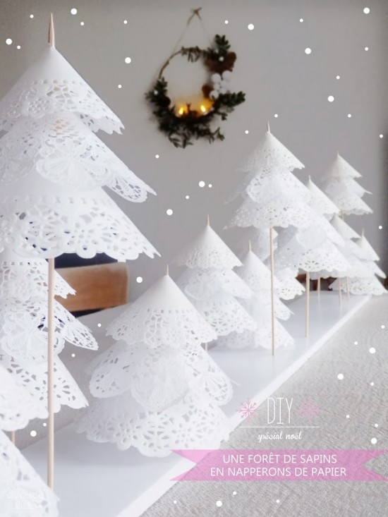 Doily christmas tree craft decoration fun crafts kids - Decor de table noel ...