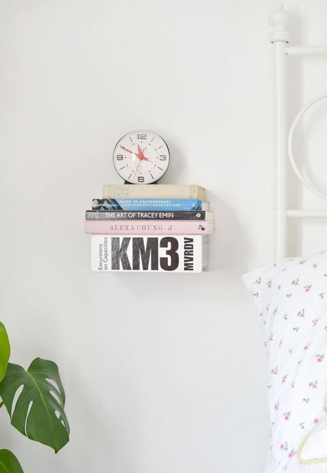 DIY Floating Book Bedside Table