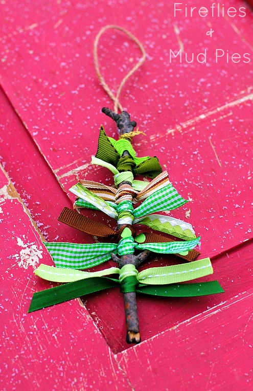 Christmas Tree Stick Ribbon Ornament