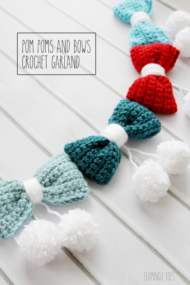 Bows Pom Pom Garland Crochet Fun Crafts Kids