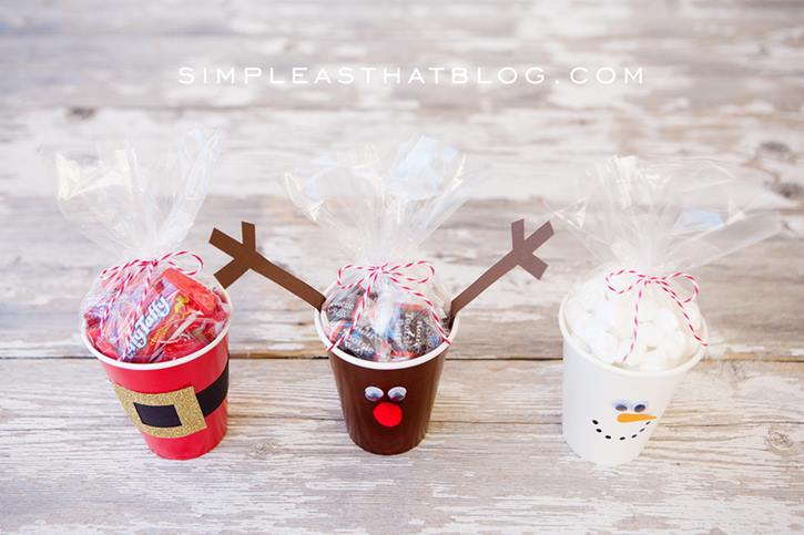 christmas treat cups - quick to make and oh so cute