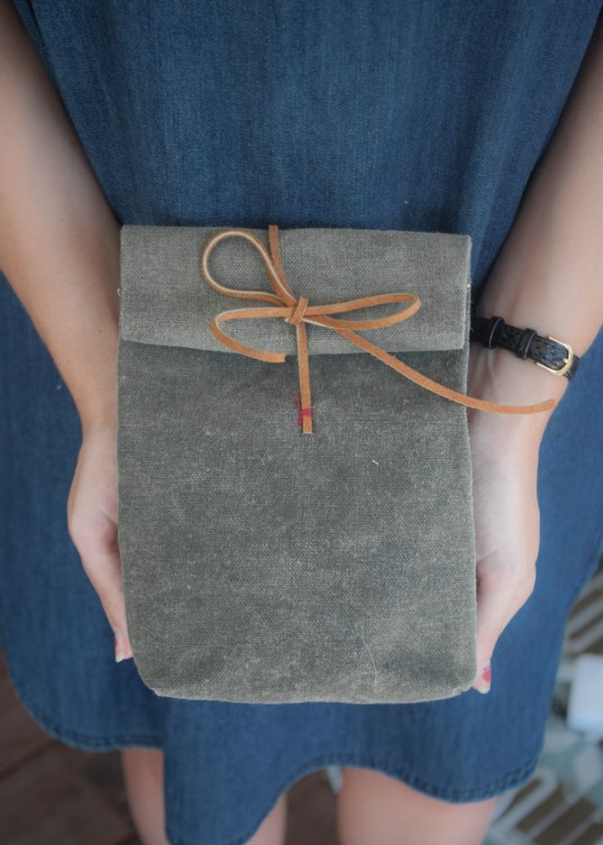 DIY Canvas and Leather Lunch Bag