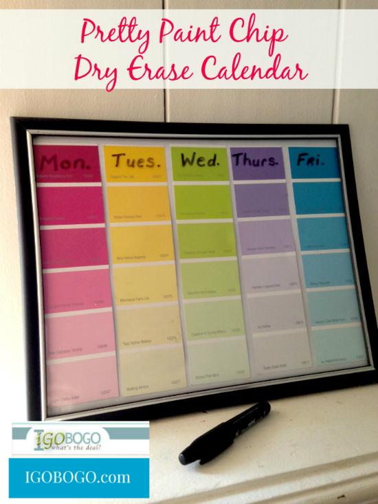 Paint chip diys dry eraser weekly planner fun crafts kids Easy room planner