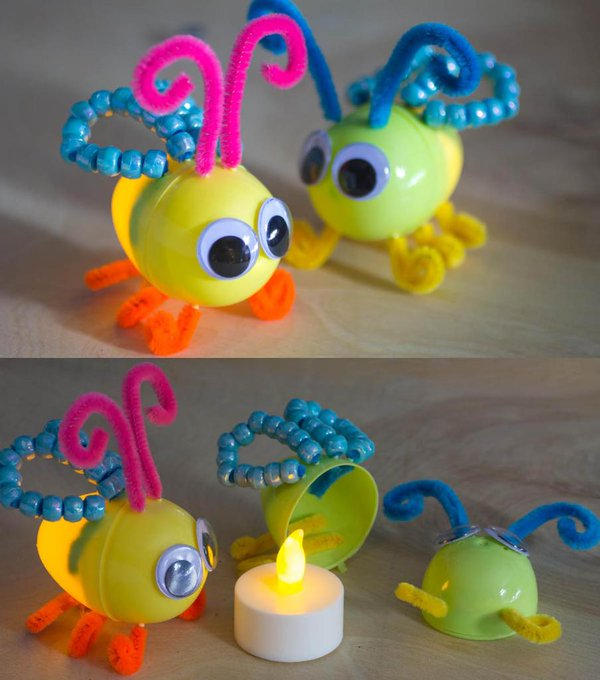 recycled lightening bugs using plastic easter eggs