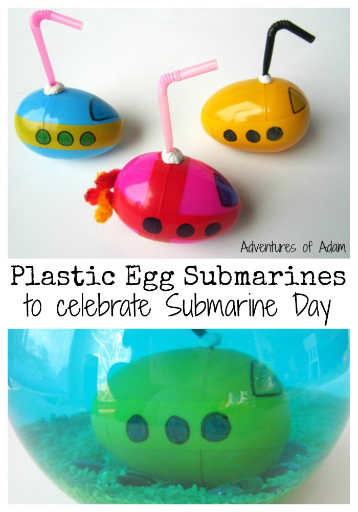 Plastic Egg Crafts - make our own DIY Submarine that you can play in the bath with!