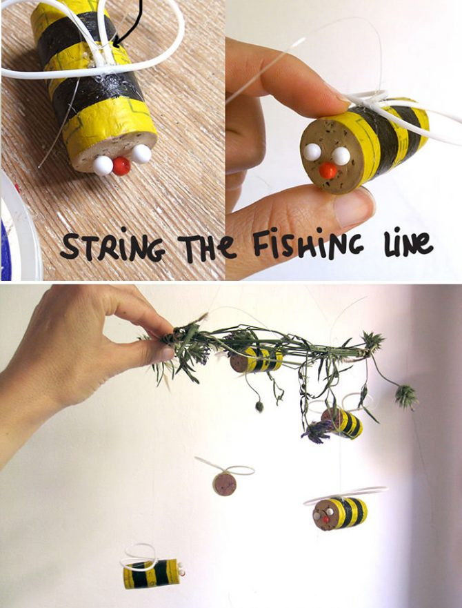 DIY cork bee mobile