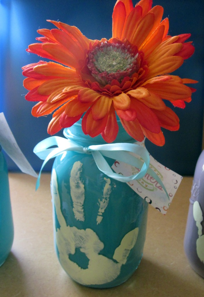 Handprint Mason Jars for Mother's Day such a simple and oh so sweet gift idea and keepsake