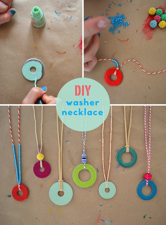 Cool Craft Ideas For Kids Part - 15: Nail Polish Washer Necklace