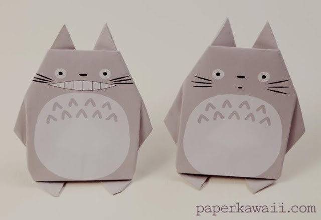 Easy Origami Totoro how to - use the free printable or design you own. Either way have lots of fun with this adorable Totoro DIY!