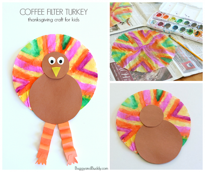 Coffee Filter Turkey Craft For Kids Fun Crafts Kids