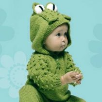 Knit a Frog baby romper suit