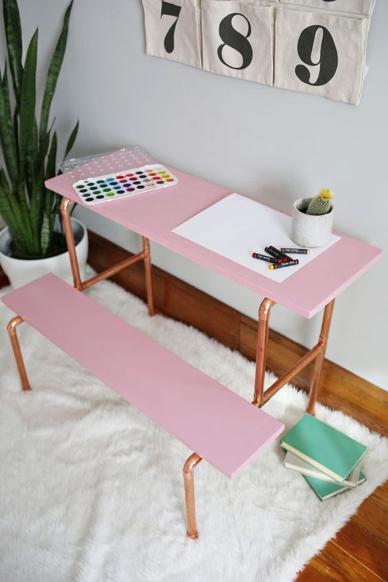 DIY copper pipe childs desk
