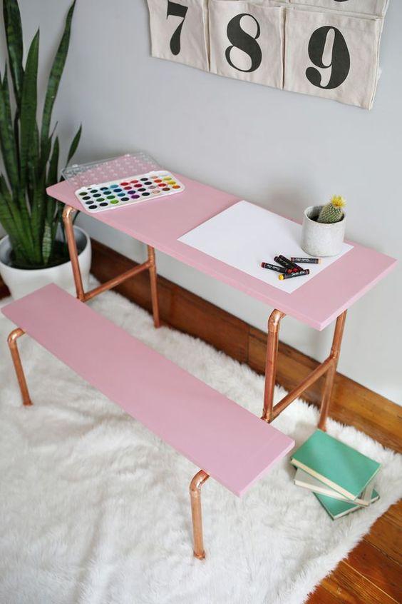DIY copper pipe childs desk