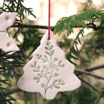 White Clay Tree Ornaments