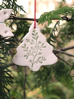 White Clay Tree Ornaments