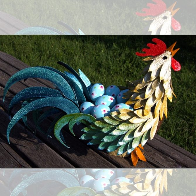 Egg Carton Craft Rooster for Chinese New Year