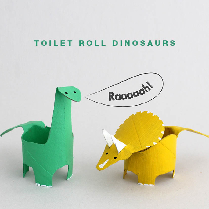 Toilet paper roll tubes dinosaurs