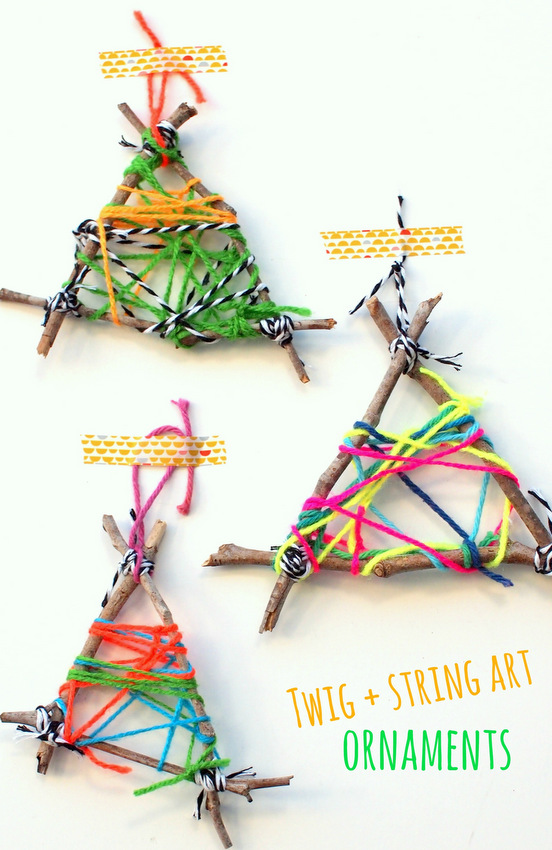 twig and string art ornaments