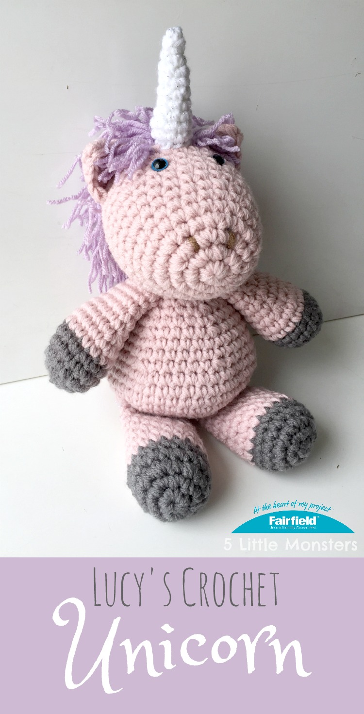 Crocheted unicorn doll