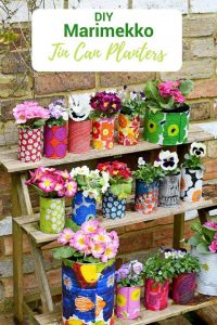 DIY Marimekko pots in the garden