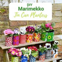 DIY Marimekko pots in the garden