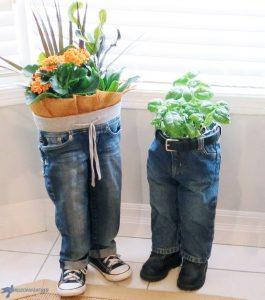 Denim jeans planter DIY