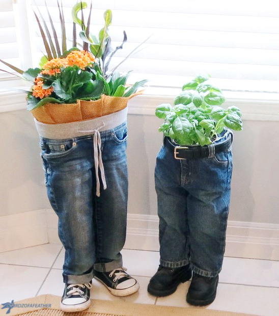 Denim jeans planter DIY