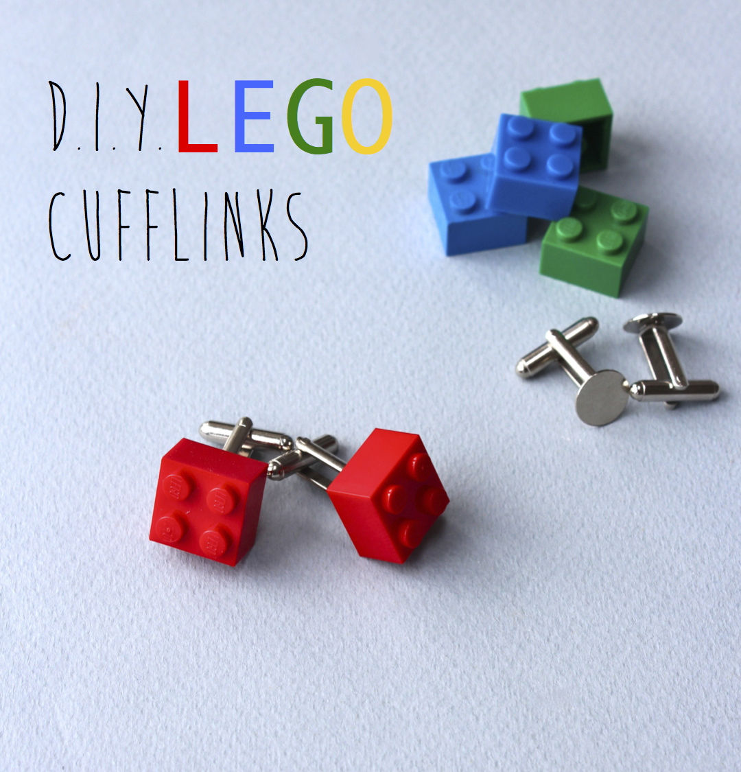 Lego - Cufflinks- fathers-day -red - bricks- Crafts