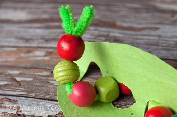 wooden bead hungry caterpillar
